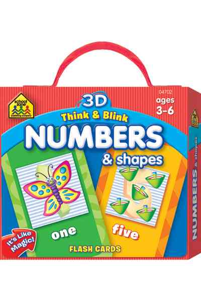3D Think & Blink Numbers & Shapes Flash Cards By School Zone